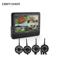 """DBPOWER 2.4 GHz Inalámbrico de 4 Canales Quad Sistema de Seguridad CCTV 4 Cámaras + 7 """"LCD DVR/NVR 300 M de Transferencia de Visión Nocturna Del Monitor Del Bebé"""