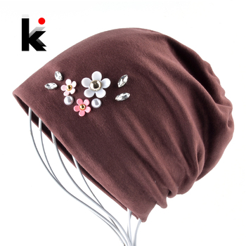 Solid Color Hat For Women Rhinestone Flower Beanies Skullies Ladies Elegant Beanie Cap Female Spring Autumn Bonnet Gorras Chapeu 1
