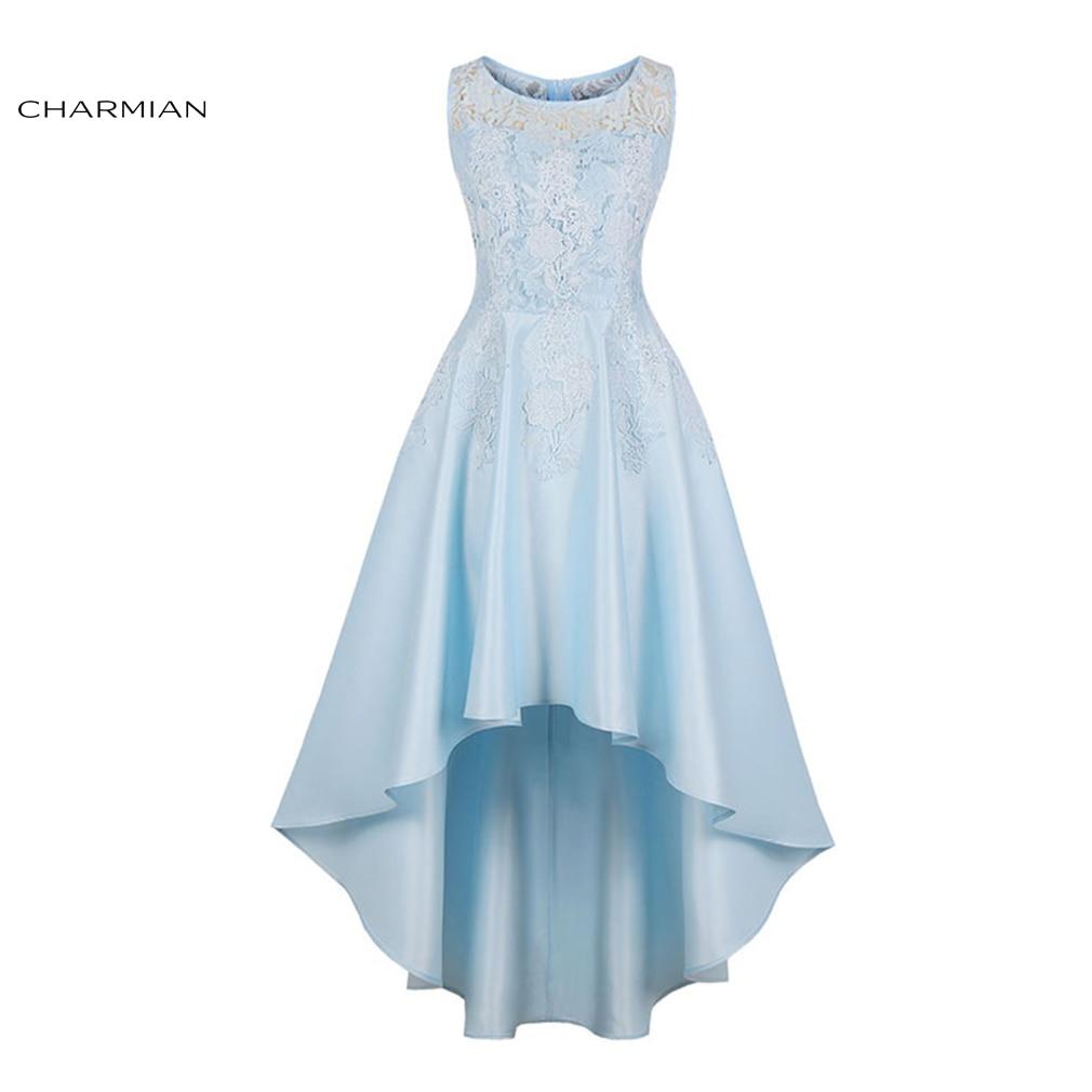 Charmian Women s Elegant Sexy Floral Lace High Low Dress Plus Size Asymmetrical High Waist Wedding