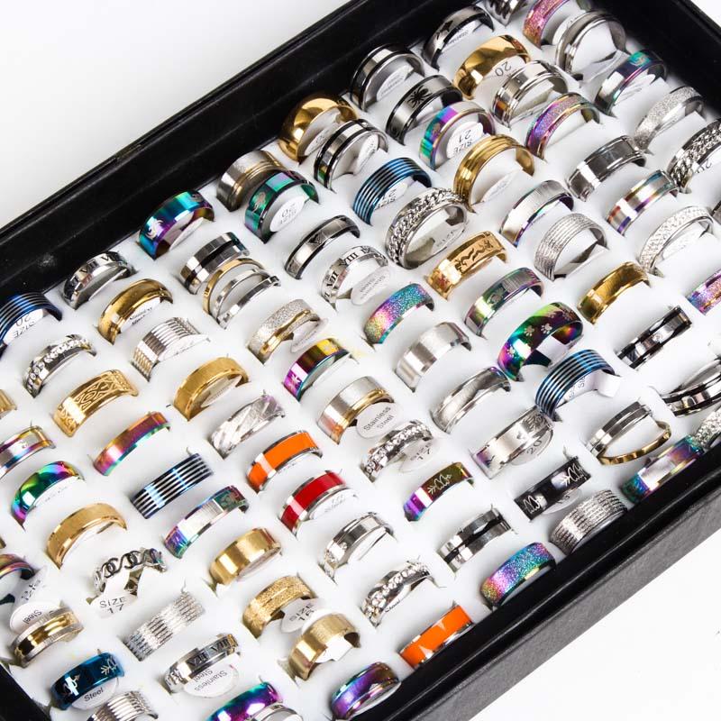 Мужские и женские кольца из нержавеющей стали, 50 шт./партия, модные ювелирные изделия в подарок для свадебной вечеринки