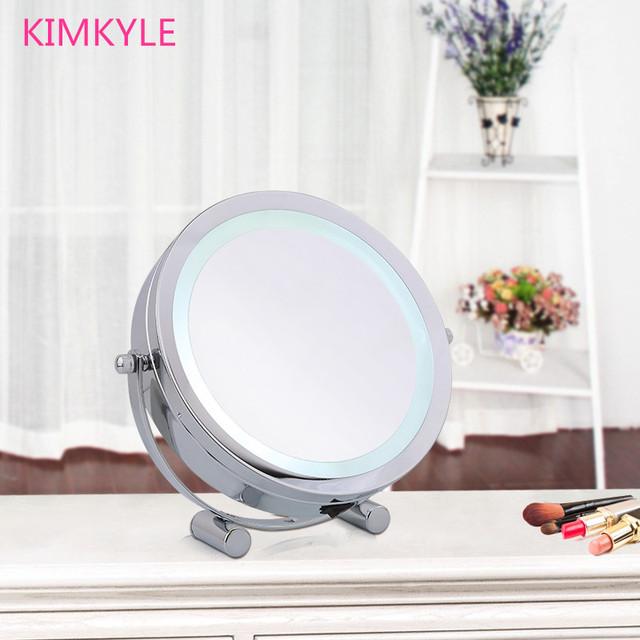 7 pulgadas de moda de alta definición con LED 2-cara de escritorio espejo de maquillaje princesa espejo de tocador 5X de aumento de dormitorio decoración