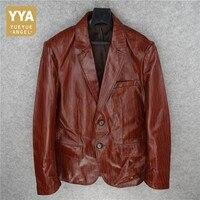 Fashion Mens Sheepskin Genuine Leather Blazer Jacket Striped Printed Vintage Single Breasted Coats Office Man Blouson Cuir Homme