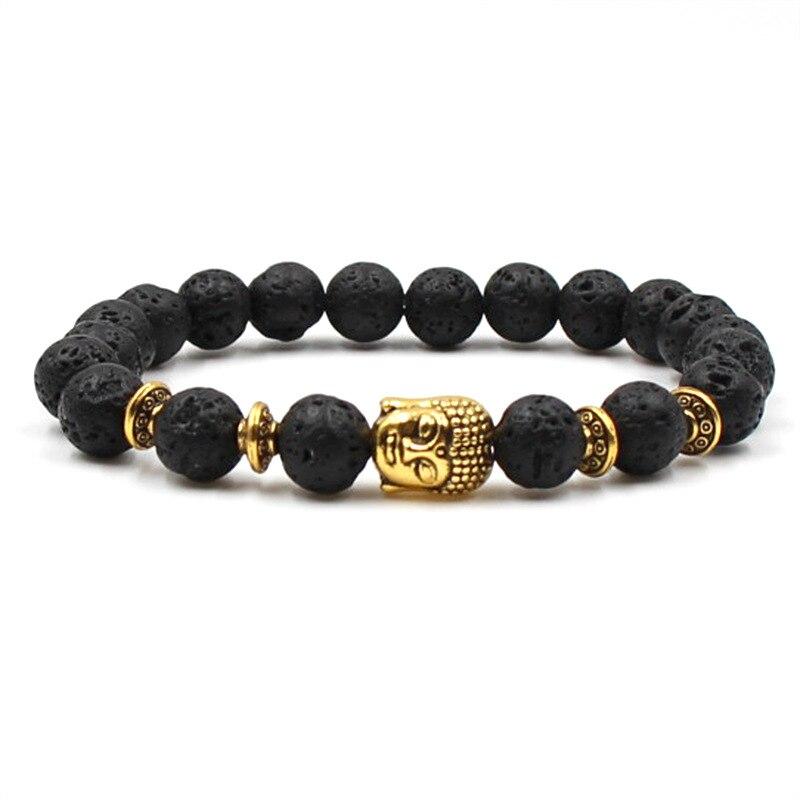 Natural Lava Stone Bead Buddha Bracelets For Women Men Jewelry Gift Healing Balance Reiki Prayer Charm Bracelet Bileklik Female