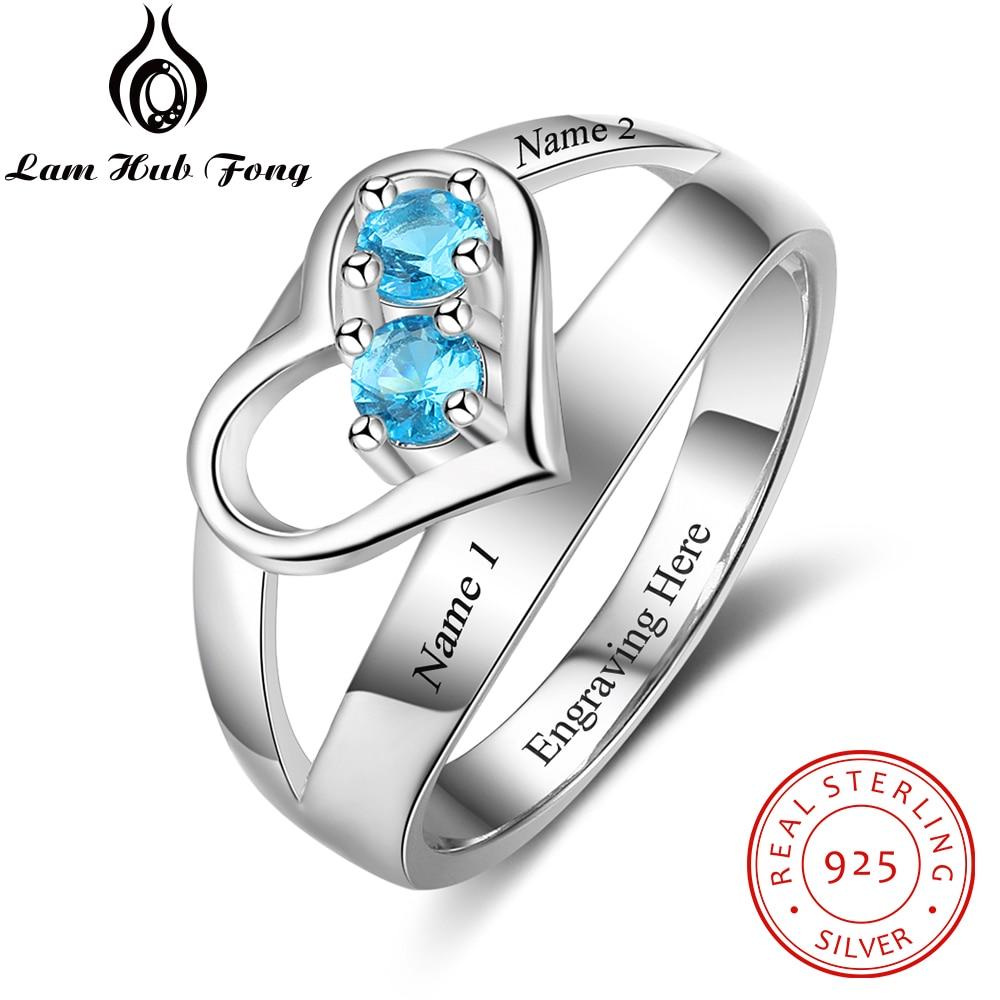 100% 925 Sterling Silber Ring Diy Birthstone Gravierten Namen Verlobungsringe Edlen Schmuck Romantische Geschenk (lam Hub Fong)