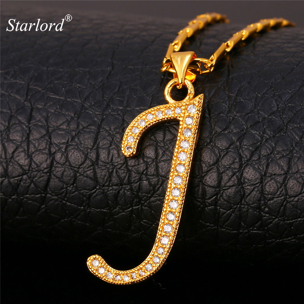 Initial J Letter Pendants U0026 Necklaces Women Men Personalized Gift Alphabet  Jewelry Gold Color Necklace P1680