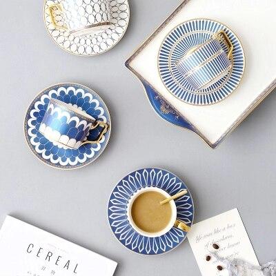 Ceramic Coffee Cup Saucer Set European Elegant Coffee Mugs Dish Set Household Simple Afternoon Tea Cup With Spoon in Coffee Cup Saucer Sets from Home Garden
