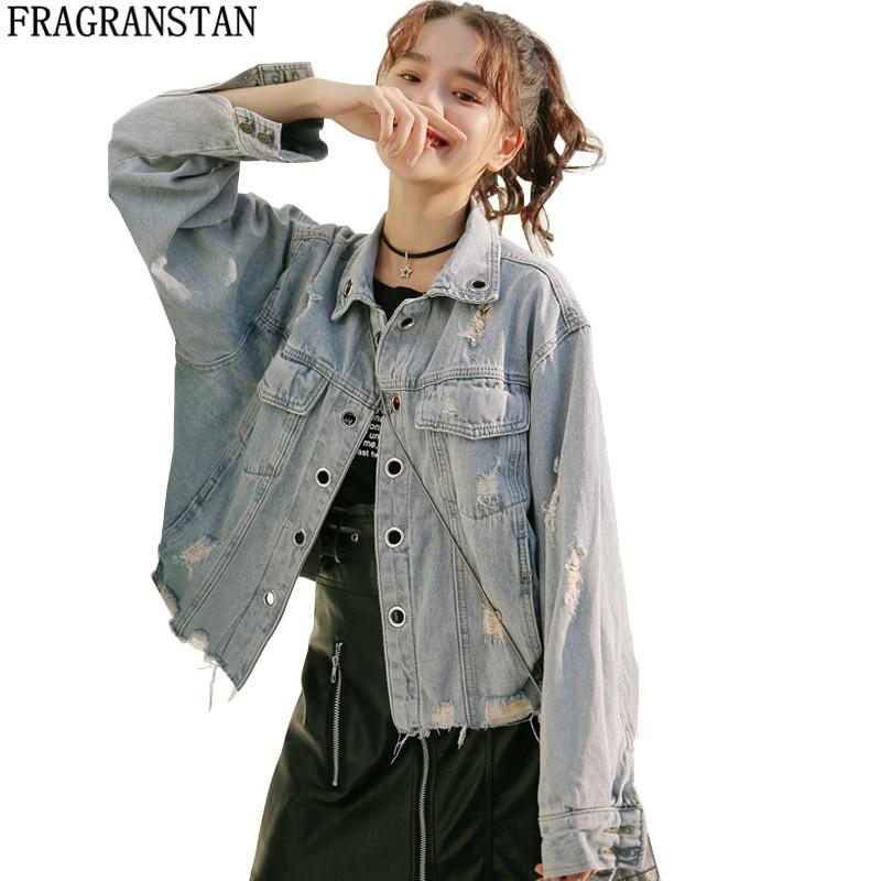 Women Fashion Spring Autumn Solid Color Denim Jacket Ladies Casual BF Harajuku Loose Coats Female Street Style Hole Outerwear