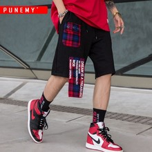 Striped Plaid Patchwork Men Shorts Elastic Waist Drawstring Beach Shorts Hip Hop High Streetwear Joggers Male Shorts Trousers