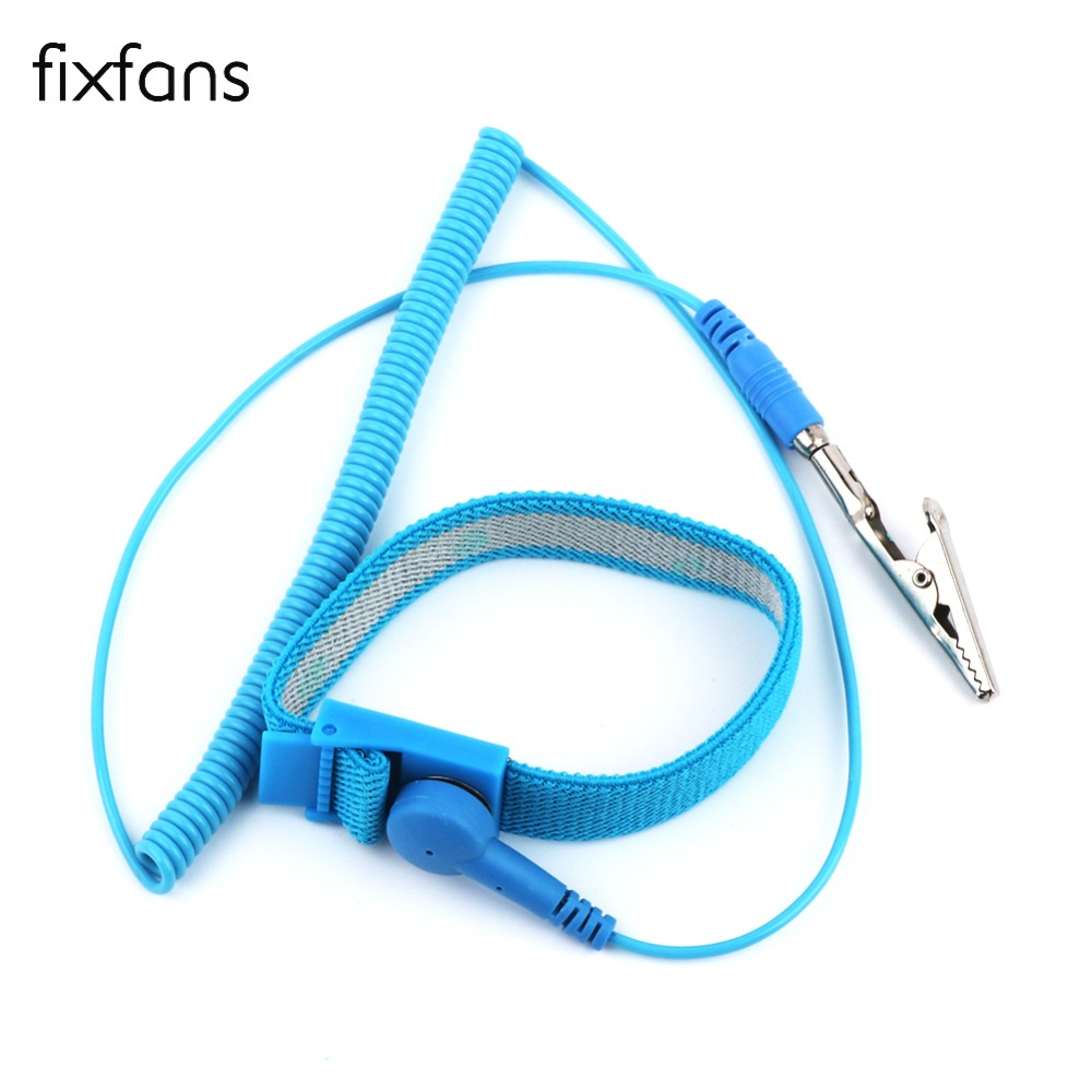 FIXFANS Adjustable Anti Static Wrist Strap Elastic Band with Alligator Clip for Sensitive Electronics Repair Work Tools