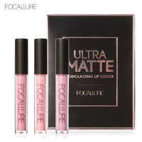 FOCALURE 3Pcs Long Lasting Lip Colors Makeup Waterproof Tint Lip Gloss Red Velvet Ultra Nude Matte