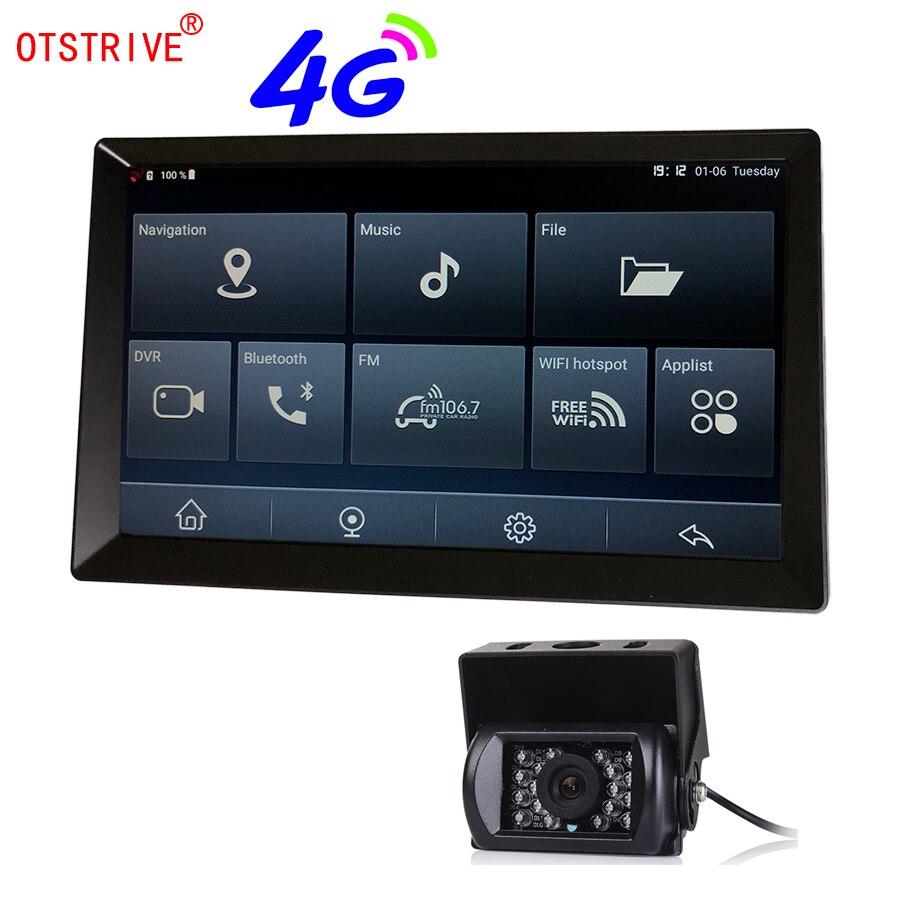 Otstrive 9 pouces Android voiture camion Bus GPS Navigation Bluetooth téléphone WiFi Full HD 1080 P DVR double lentille vue arrière caméra GPS DVR