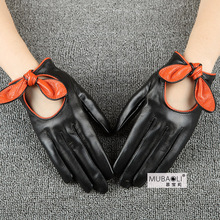 Fashion Black Sheepskin Gloves Female Genuine Leather Women Spring Autumn Thin Style Bow knot Five Fingers
