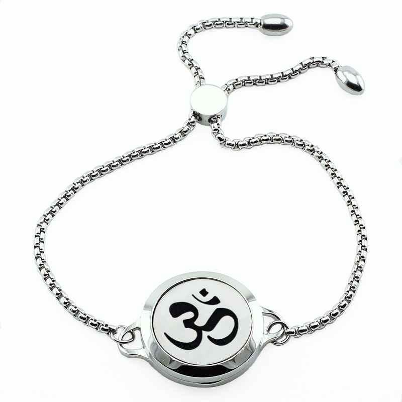 316L Stainless Steel Aromatherapy Bracelet Adjustable 25mm Magnetic Lotus Diffuse Bracelet for Women (with 5pads)