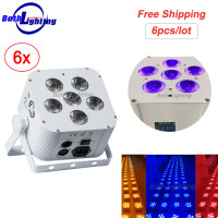 Wireless Battery Led Par Wash Uplighting 6X18W RGBWA 6in1 DMX DJ Disco Wedding uplights