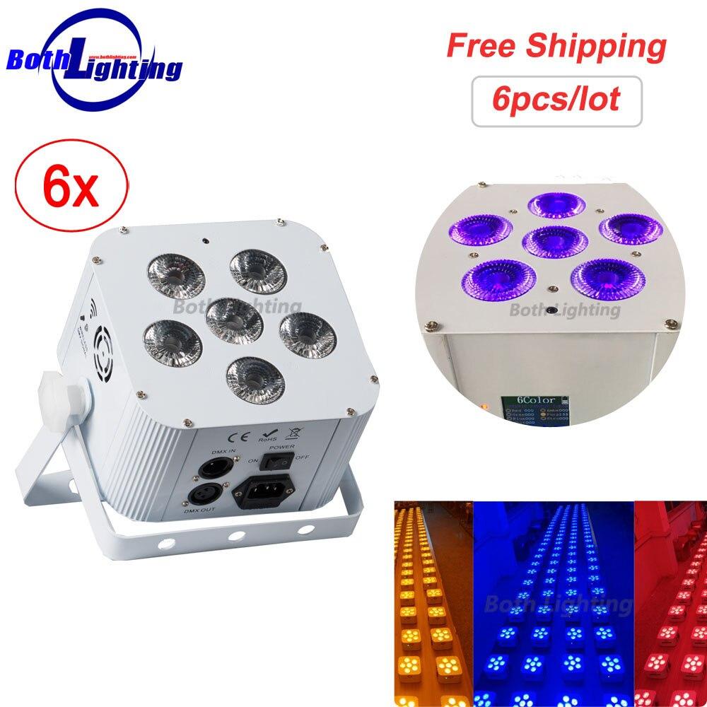 Wireless Battery Led Par Wash Uplighting 6X18W RGBWA 6in1 DMX DJ Disco Wedding uplights