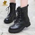 New Fashion Children Boots Kids Lace up Martin Boots Boys Girls Antislip Shoes Spring Autumn Leather Boots Size 27-39