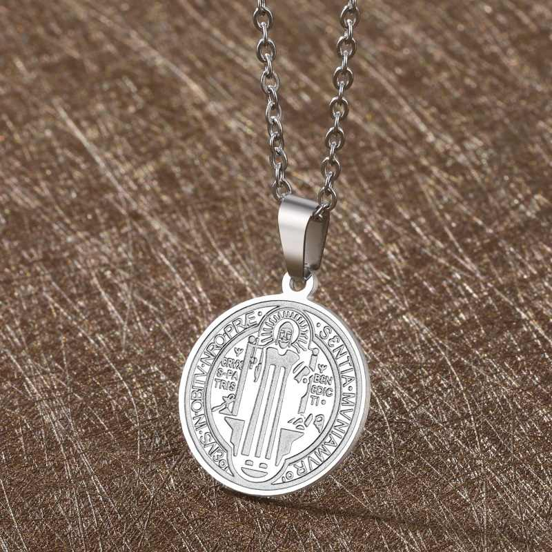 San Benito Medal Cross Jesus Pendant Stainless Steel Saint Benedict Silver Link Chain Necklaces for Women Men Religious Jewelry