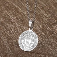 San Benito Medal Cross Jesus Pendant Stainless Steel Saint Benedict Link Chain Necklaces for Women Men Religious Jewelry