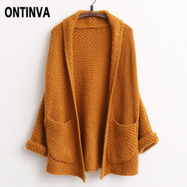 785f0b145eb Fall Fashion Casual Loose Shrugs Cardigans Womens Batwing Sleeve Thick  Outwear Knitting Sweater Khaki Beige Jumper With Pockets
