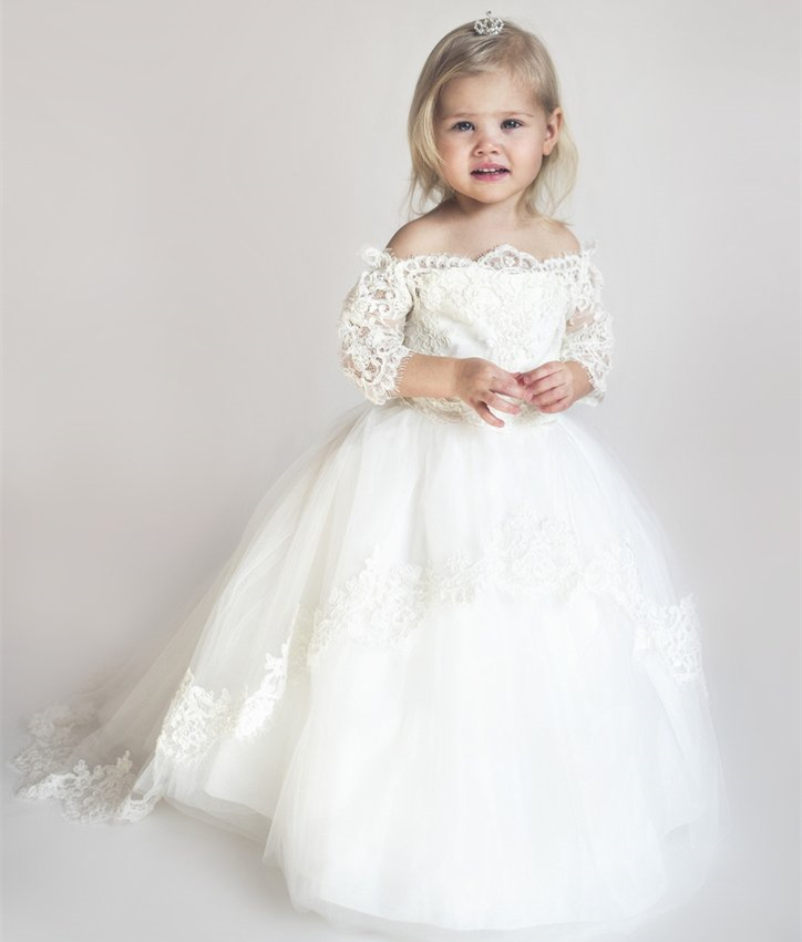 2017 new off the shoulder lace ball gown flower girl dress puffy two tiers tulle girls birthday gown with train silver gray purple pink blue ball gown tutu soft tulle puffy flower girl dress baby 1 year birthday dress with spaghetti straps
