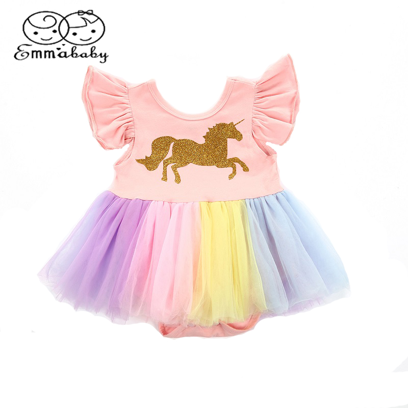 Emmababy Cute princess Dress Newborn Toddler Baby Girls Unicorn Lace Tutu Fly Sleeve   Romper   Jumpsuit Fancy Dress Outfits Costume