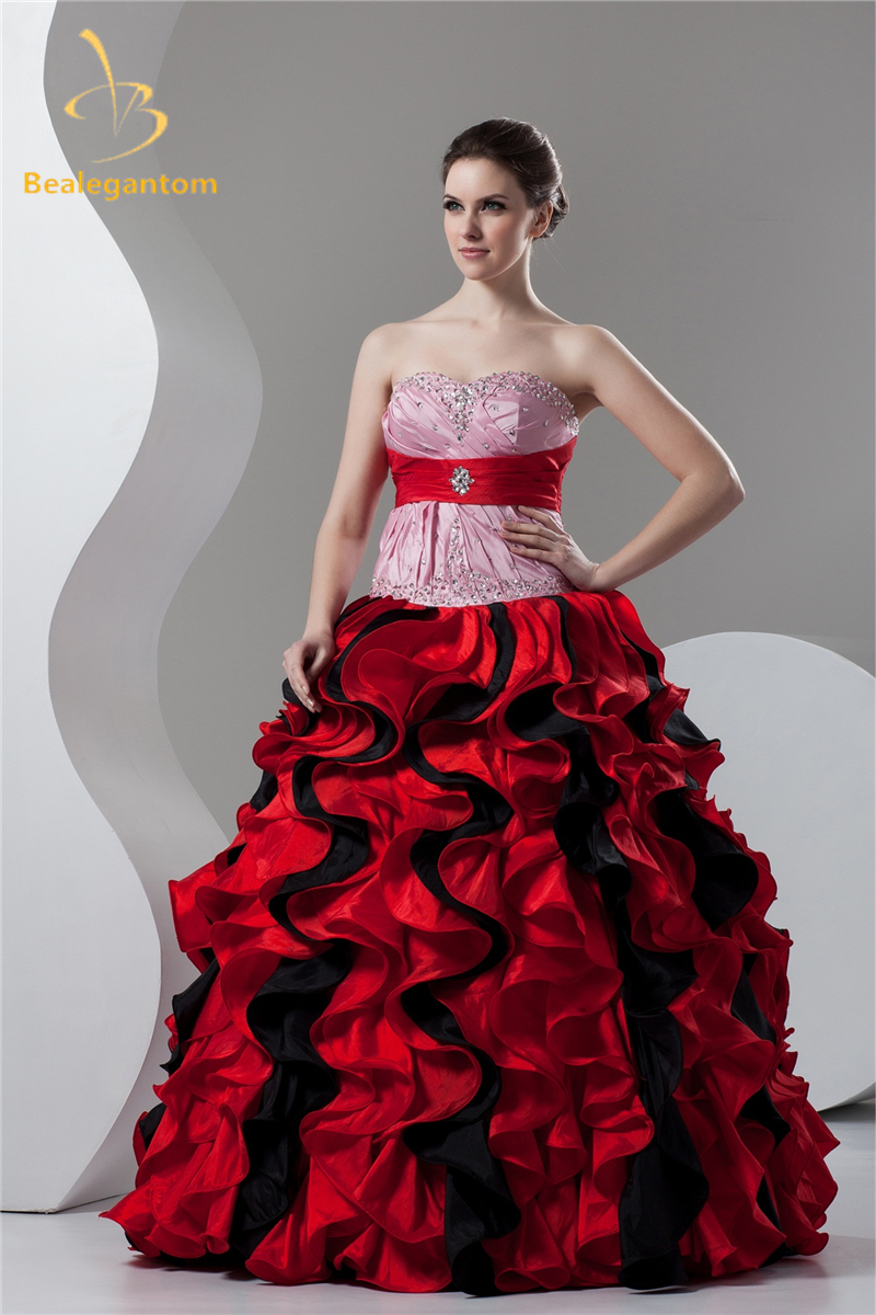Bealegantom New Black Red Taffeta Quinceanera Dresses Ball Gown 2017 Sweet 16 Dresses Vestido Debutante Gowns QA1068