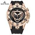 Мужские спортивные наручные часы Reef Tiger/RT  роскошные Брендовые Часы цвета розового золота с хронографом  резиновым ремешком и датой  2019