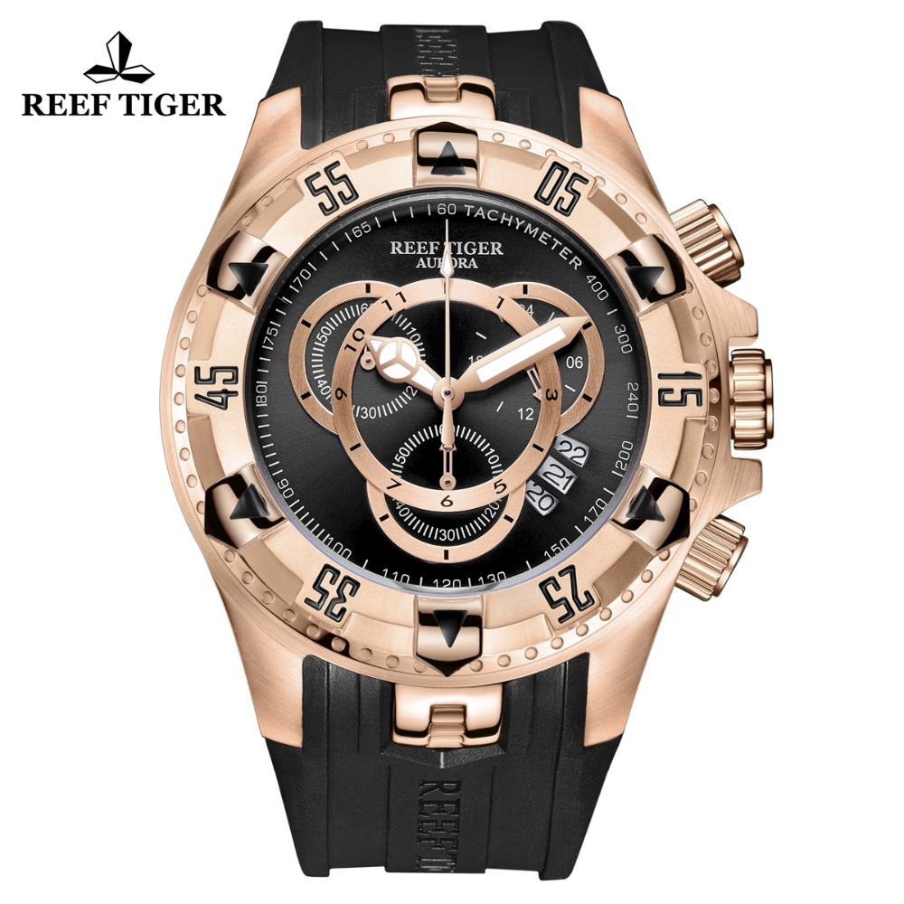 2018 Reef Tiger/RT Luxury Rose Gold Sport Watch for Men Brand Fashion Watch Chronograph Date Rubber Strap Reloj Hombre RGA303-2 reef tiger rt designer sport watches for men rose gold quartz watch with chronograph and date reloj hombre 2018 rga3063