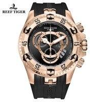 2019 Reef Tiger/RT Роскошные спортивные часы розового золота для мужчин брендовые Модные Часы Хронограф Дата резиновый ремешок Reloj Hombre RGA303 2
