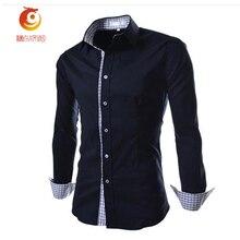 Мужская рубашка 2017 Повседневные рубашки мужские весенние с длинным рукавом рубашка Slim Fit Размеры 3Xl одноцветное Цвет/плед Темно-синие хлопковые рубашки мужские