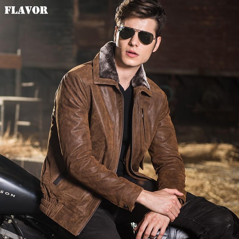 2016 Men's real leather jacket pigskin motorcycle Genuine ... - photo #31