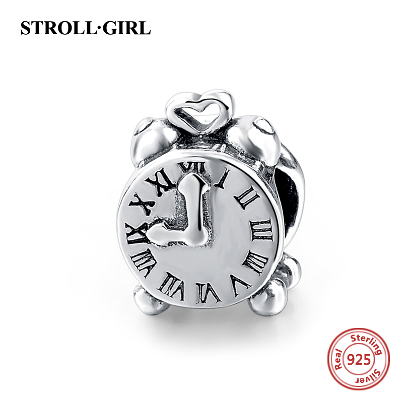 925 Sterling Silver Rome Digital Clock Charm Bead Fit Original pandora Bracelet Berloques Authentic Pendant DIY Jewelry Gifts