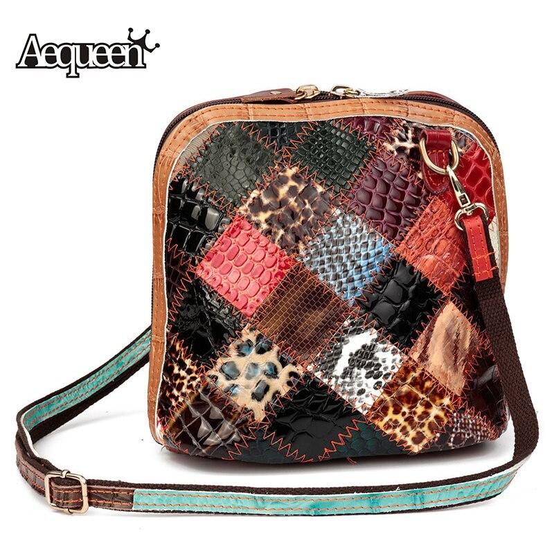 100% Wahr Aequeen Frauen Schultertasche Aus Echtem Leder Patchwork Vintage Blume Shell Crossbody Messenger Bags Zufällige Farbe