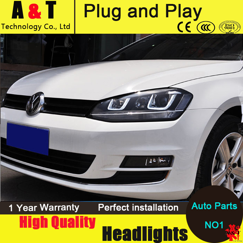 Car Styling For VW Golf 7 headlight assembly 2013-2014 Golf7 led headlight GIT head lamp Angel eyes led drl H7with hid kit 2pcs. car styling head lamp for bmw e84 x1 led headlight assembly 2009 2014 e84 led drl h7 with hid kit 2 pcs