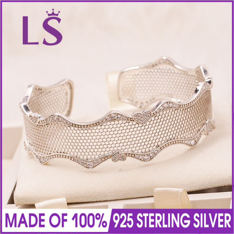 LS 2018 100% 925 Sterling Silver Lace of love bracelet cuff Silver Bangles for Women Fine Jewelry Fit Original Beads Charm 12mm 10mm tjp natural pink amazonite round bracelet bangles sweater love with certificate together cuff bracelet fine jewelry