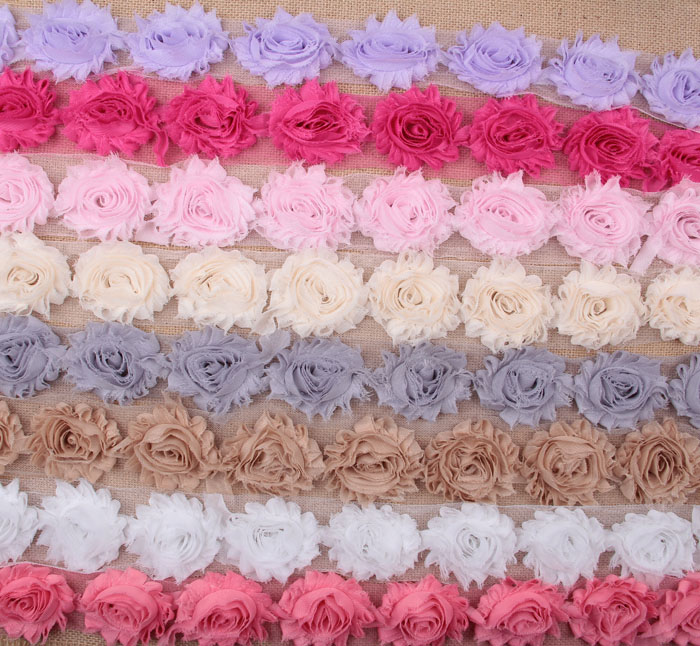 15colors Fashion Chic Shabby Chiffon Flowers For Children Hair Accessories 3D Fabric Flowers For DIY Baby Headbands