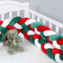 4M Length Christmas design knot crib newborn cotton bed long knotted braid pillow baby bed bumper in the crib baby room decor 1m 1 5m 2m 3m length nodic knot newborn bumper long knotted braid pillow baby bed bumper in the crib infant room decor