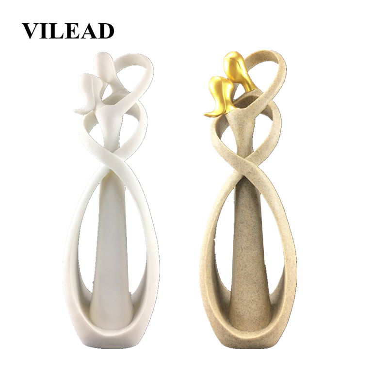 VILEAD 30cm Sandstone Kissing Lover Statue Creative Anniversary Souvenirs Gift Wedding Souvenirs Figurines Vintage Home Decor
