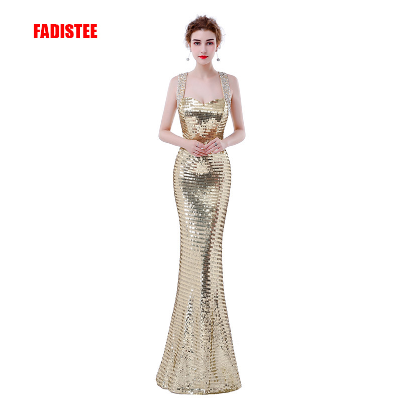 FADISTEE new design elegant   evening     dresses   sequins formal party   dress   vestidos de festa lace-up bling mermaid long gown