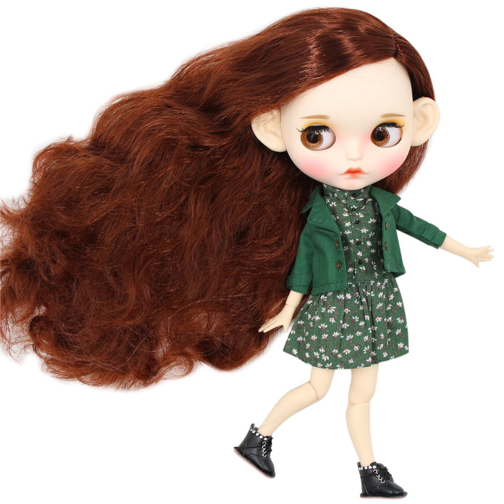 ICY factory blyth doll 1 6 bjd white skin joint body red brown hair new matte