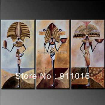 Home Decoration3 Panel Wall Art Botanical Modern Abstract Art Oil Painting African Girl Guaranteed 100% Free Shipping Wall Art