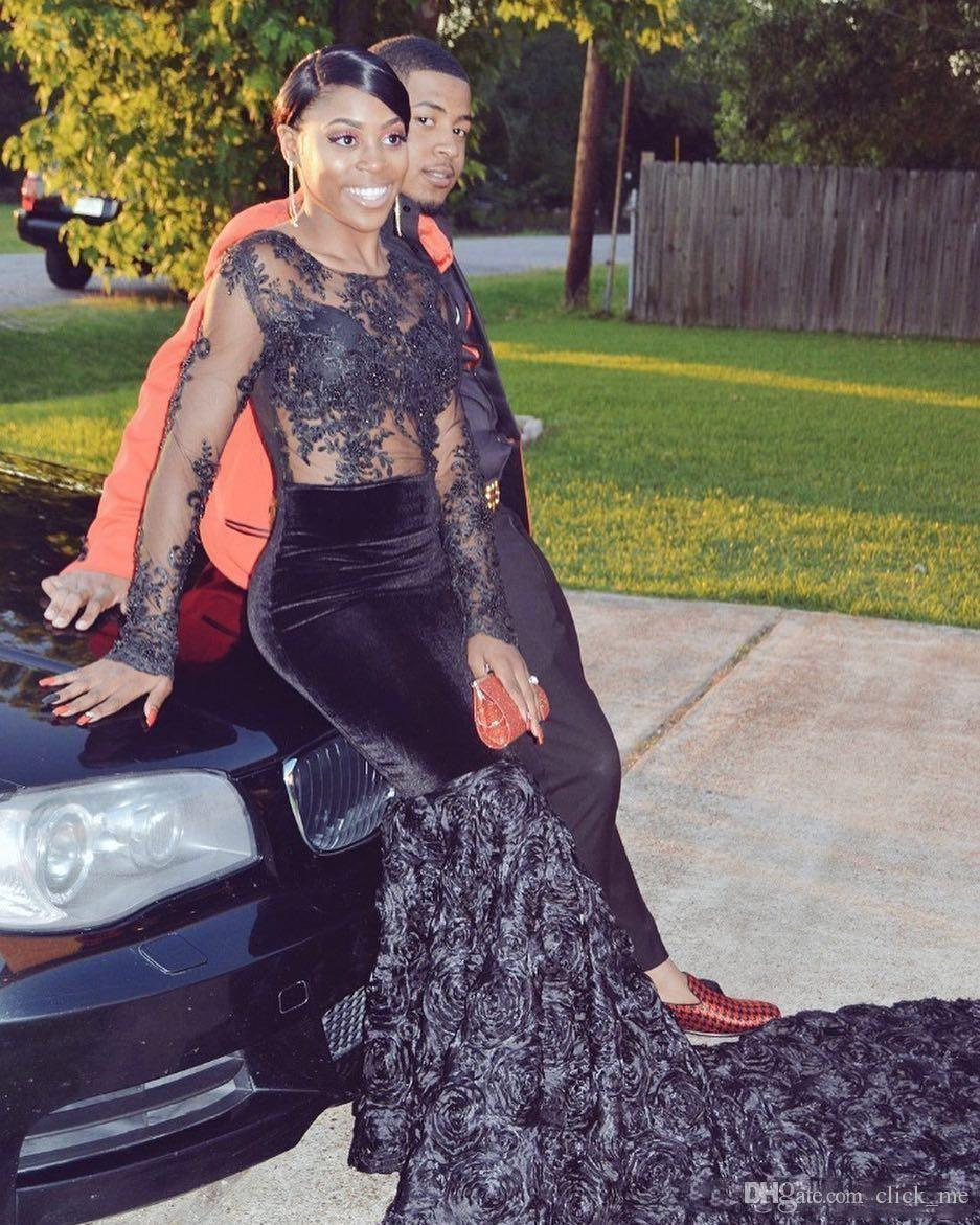 Sexy African Girls Black Mermaid   Prom     Dresses   2019 Long Sleeve Sheer Appliques Lace Women Long Party Evening Gowns
