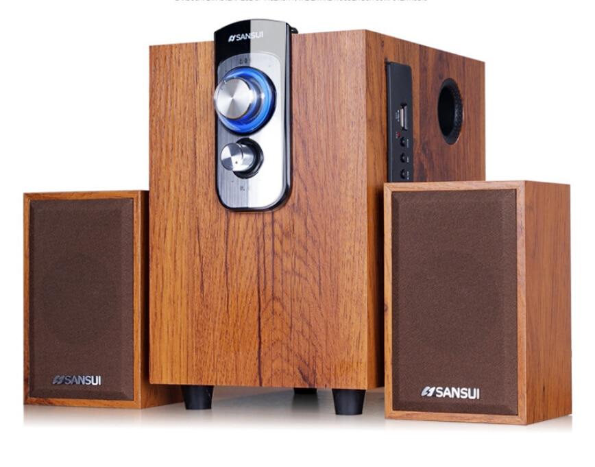 Bluetooth High quality HiFi wooden Speakers for desktop audio computer multimedia player mini speaker usb wooden 2.1 subwoofer