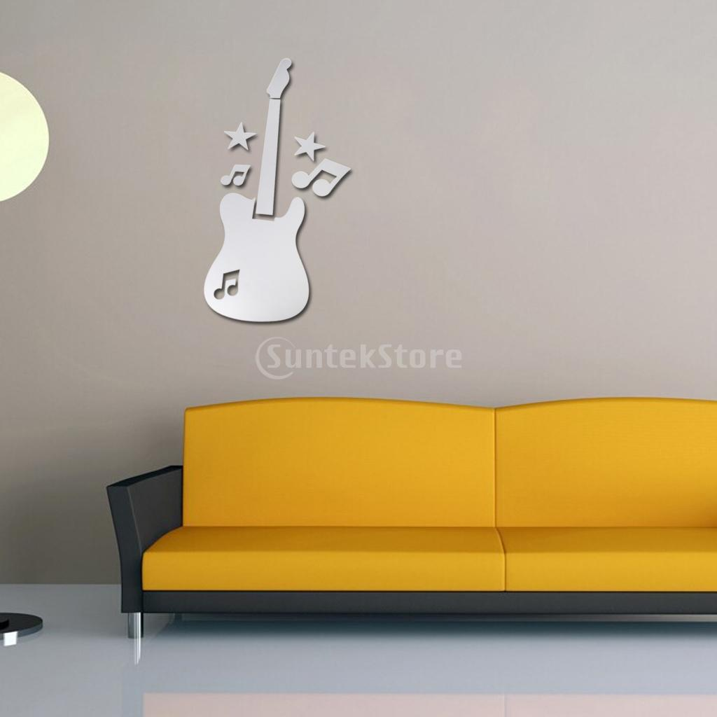 Mirror Removable Guitar w/ Music Symbols Decal Art Mural Wall ...