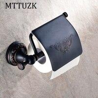 MTTUZK antique black bronze paper towel rack europe style bathroom paper holder Base carved toilet paper box toilet accessories