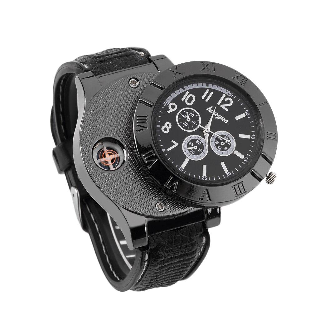 שעון קוורץ של גברים ייחודיים שעון מצית נטענת USB אלקטרוני סביבתיות מקצועיות עם נורית חיווי led