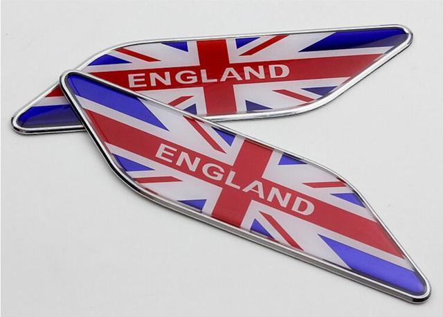 2 Pairs England Uk Flag Car Styling Decals Aluminum Alloy United