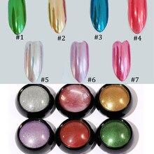 7jar/lot Nail Pigment Powder, Vtirka Glitter Rub Bright Mirror Effect Chrome Rubbing Powder For UV Gel Polish