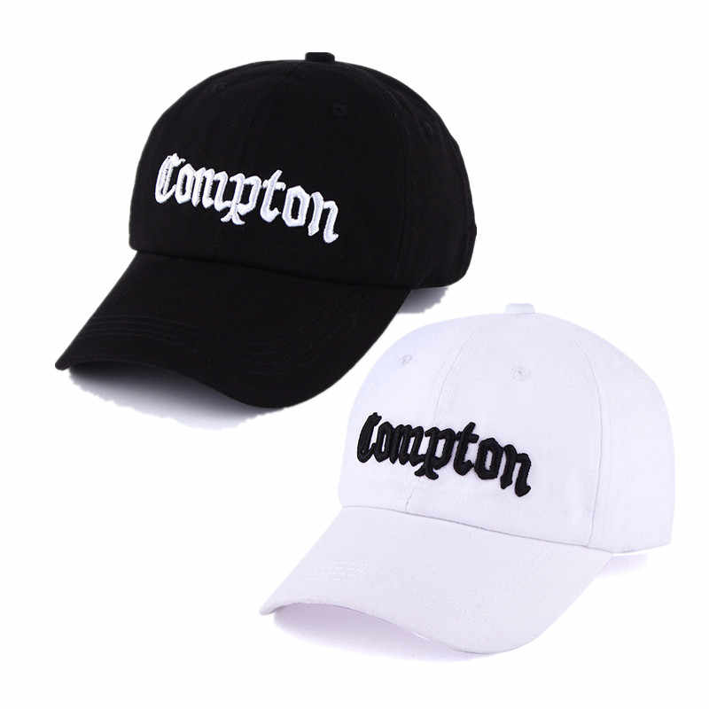 b4425442c83 Fashion Black White Cotton Baseball Cap Letters Compton Hip Hop Hats For  Couple Lovers Sunscreen Bone