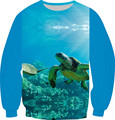 2016 Harajuku Style 3D Sweatshirt Pullover Coral sea turtles whales coast Printed Fleece Hoodies Women/Men Crewneck Clothes Tops